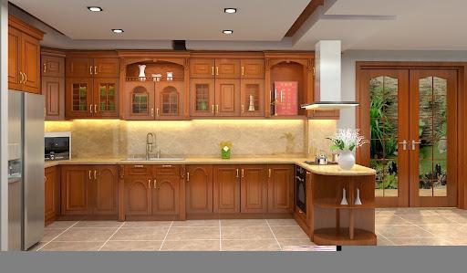 tủ bếp màu gỗ