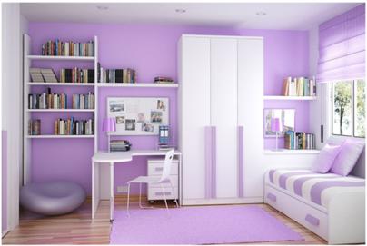 sơn phòng ngủ màu hồng tím nhạt