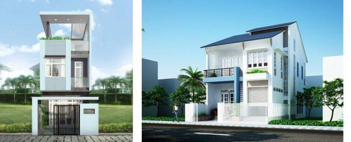 sơn nhà màu xanh ghi
