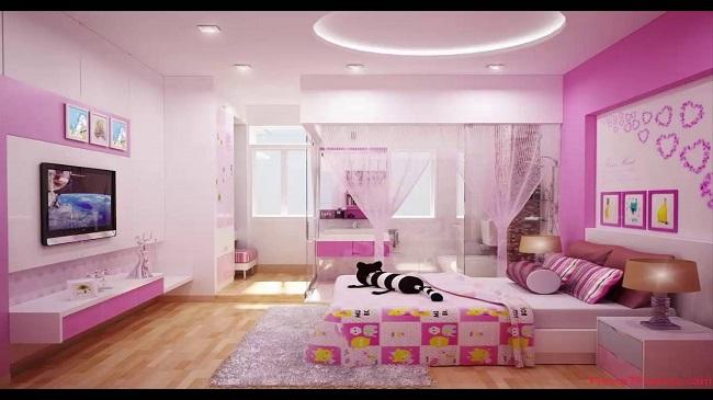sơn phòng ngủ màu hồng tím