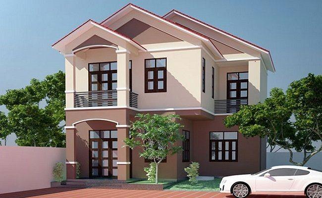 sơn nhà màu nâu kết hơp màu hồng