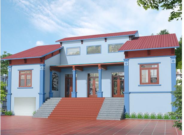 sơn nhà xanh dương