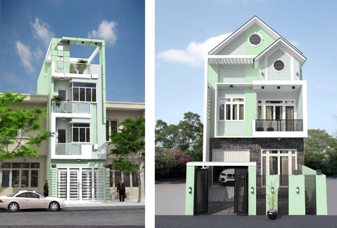 sơn nhà màu xanh ngọc
