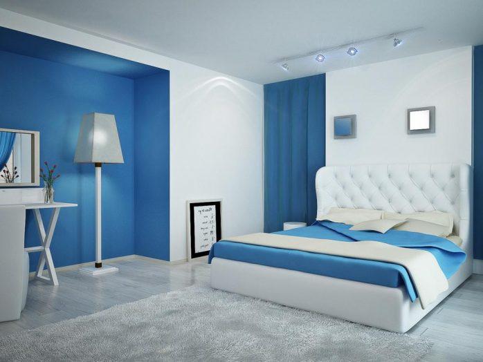 sơn phòng ngủ màu xanh