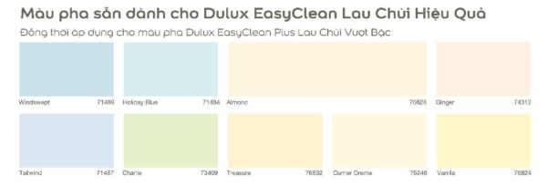 bảng màu sơn dulux lau chùi hiệu quả