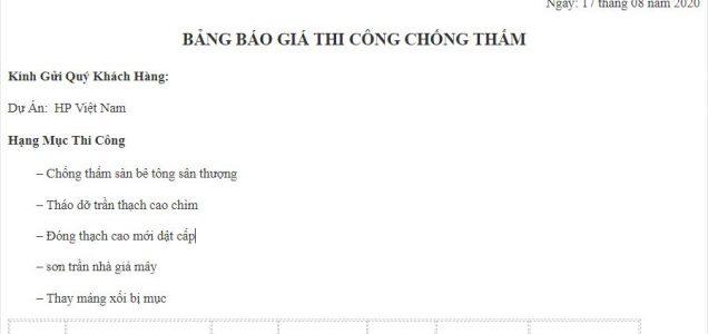 báo giá chống thấm dự án HP Việt Nam