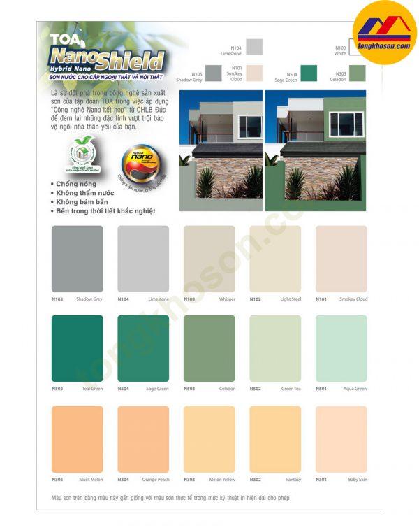 bảng màu sơn toa nội thất