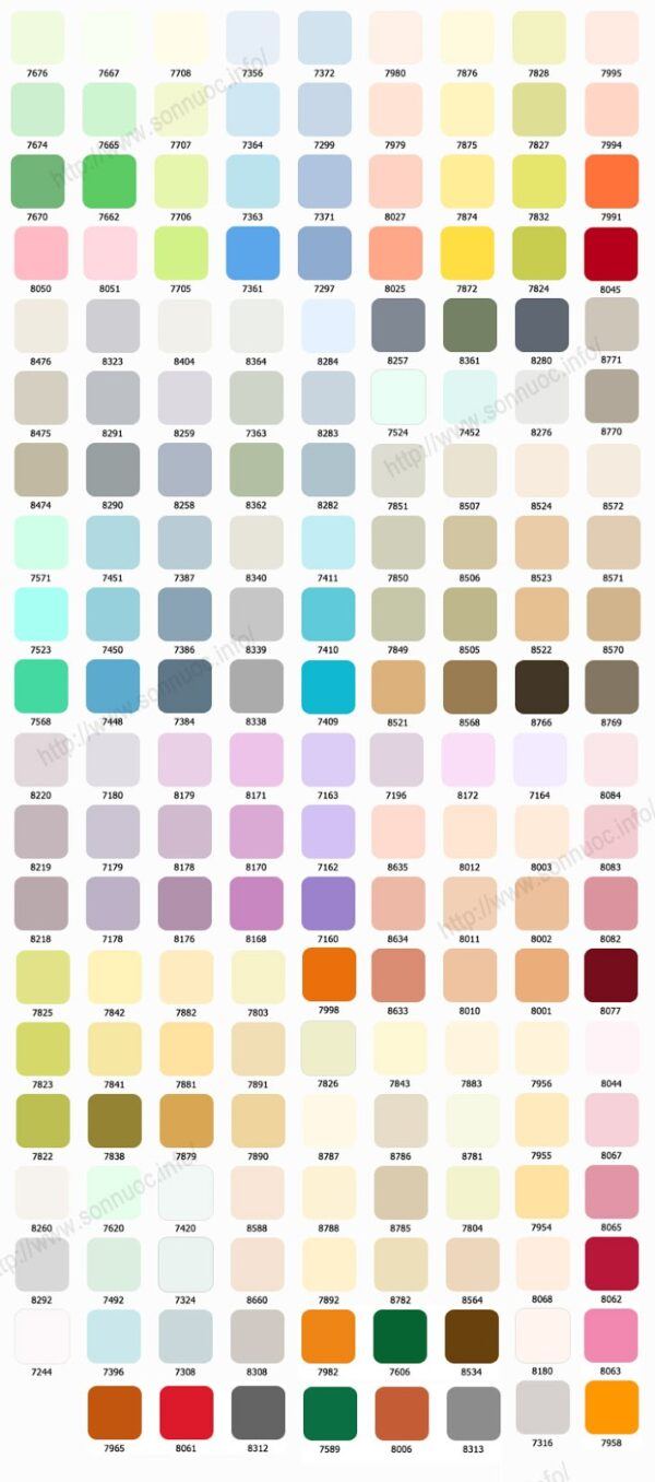 bảng màu sơn toa trong nhà