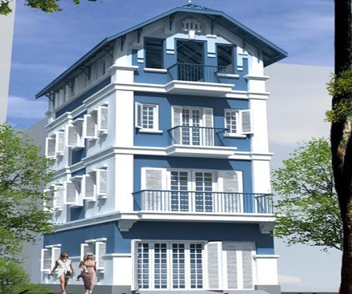 Sơn mặt tiền nhà màu xanh dương