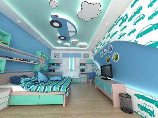 mẫu trần thạch cao phòng ngủ cho bé trai