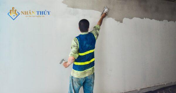thi công sơn bả tường xi măng trắng