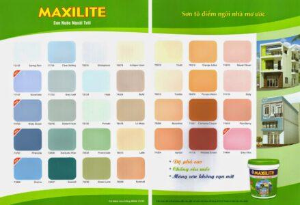 bảng màu sơn nhà maxilite ngoại thất