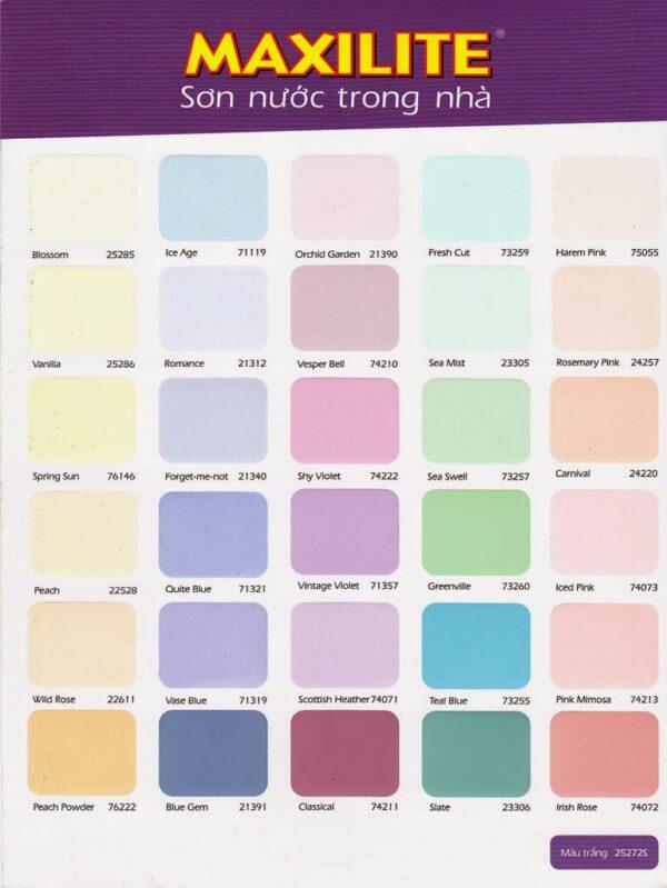 bảng màu sơn maxilite