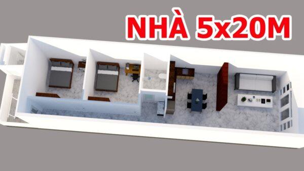 mẫu nhà cấp 4 mái tôn 5x20