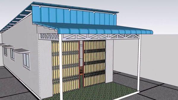 nhà cấp 4 mái tôn khung thép