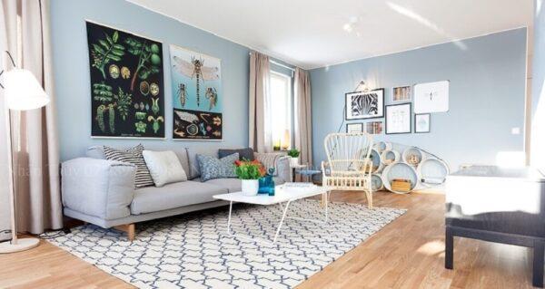 sơn phòng khách màu xanh dương