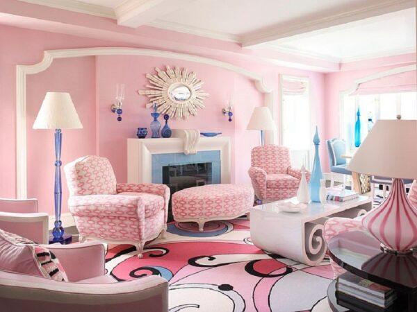 sơn phong khách màu hồng phấn