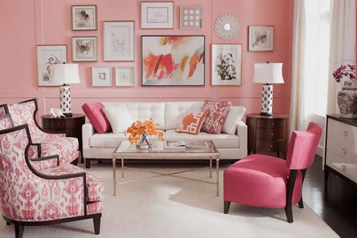 sơn phòng khách màu hồng
