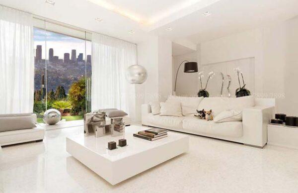sơn màu trắng sứ phòng khách