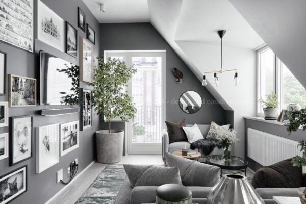 sơn phòng khách màu xám trắng