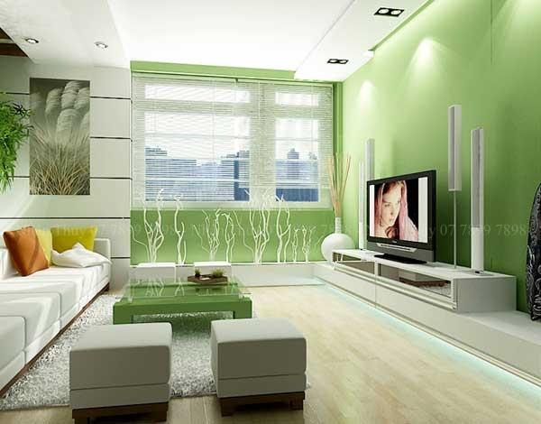 sơn phòng khách màu xanh lá cây